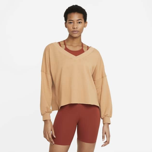 Nike W NY Luxe Off-Mat FLC V-Neck Top bei Sport Schuster München